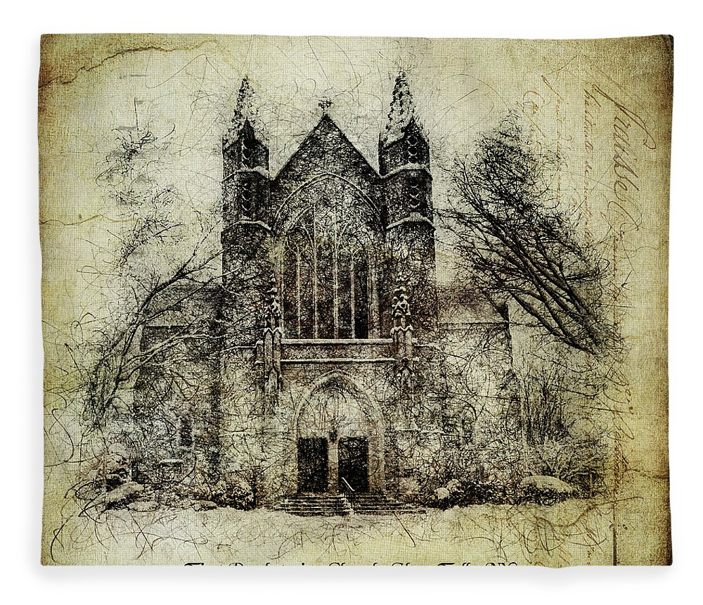 Digital Fleece Blanket featuring the digital art First Presbyterian Glens Falls by Linda Lee Hall