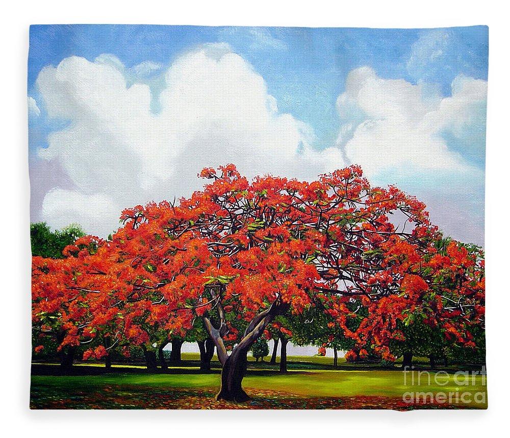 Cuban Art Fleece Blanket featuring the painting Flamboyan by Jose Manuel Abraham