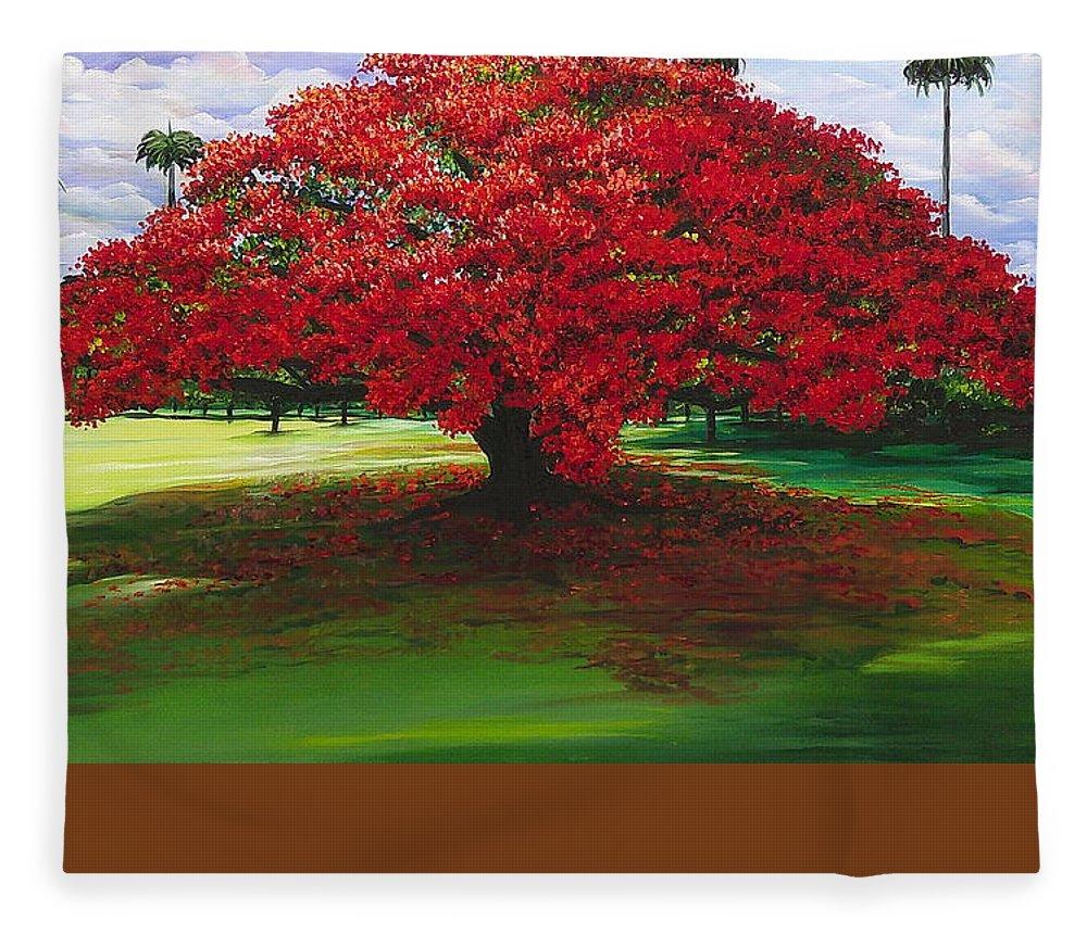 Flamboyant Tree Fleece Blanket featuring the painting Flamboyant Ablaze by Karin Dawn Kelshall- Best