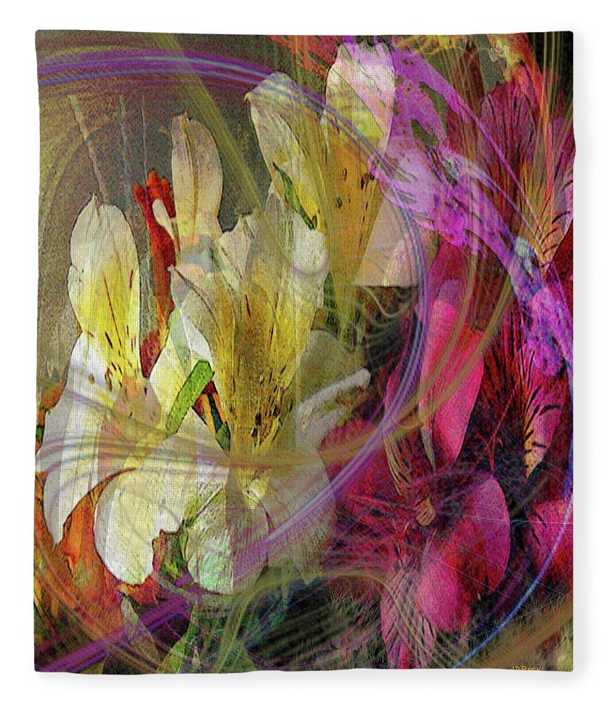 Floral Inspiration Fleece Blanket featuring the digital art Floral Inspiration by John Robert Beck