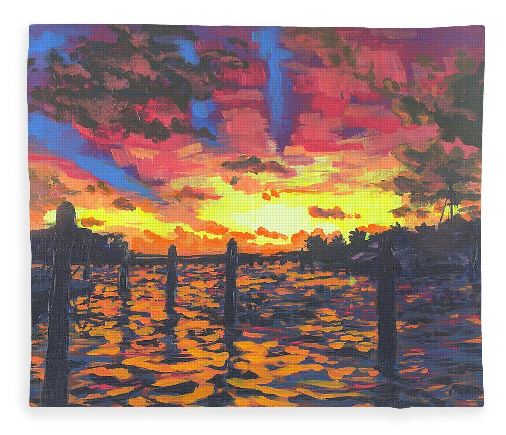 Sunset Fleece Blanket featuring the painting Florida Sunset by Allison Fox