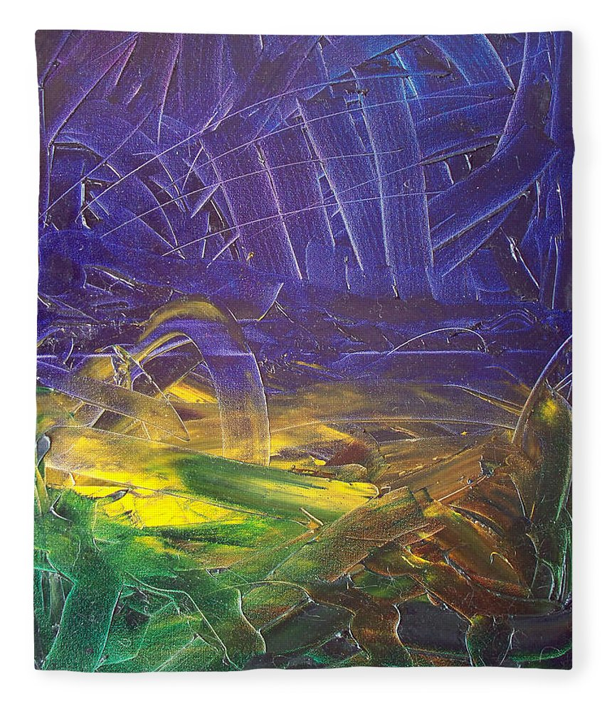 Painting Fleece Blanket featuring the painting Forest. Part2 by Sergey Bezhinets
