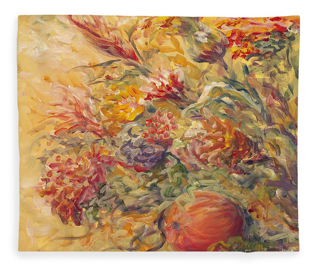 Butter Fleece Blanket featuring the painting French Country Flowers II by Nadine Rippelmeyer