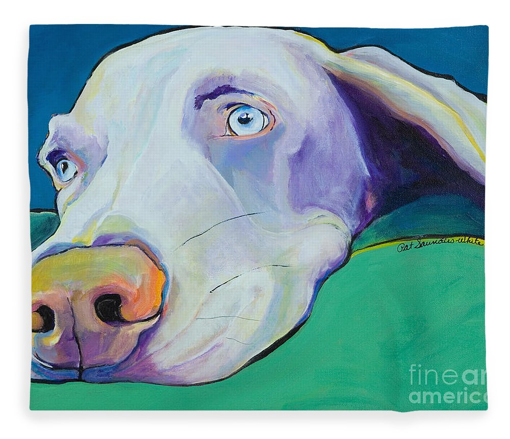Pat Saunders-white Fleece Blanket featuring the painting Fritz by Pat Saunders-White