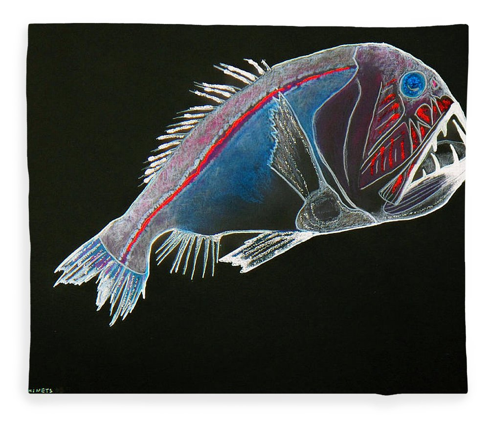 Fossil Fleece Blanket featuring the drawing From The Abyss by Sergey Bezhinets