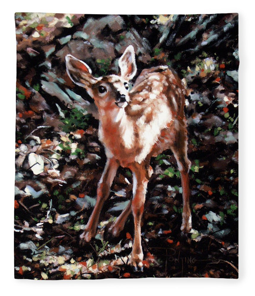 Deer Fleece Blanket featuring the painting Garden Ornament by Dianna Ponting