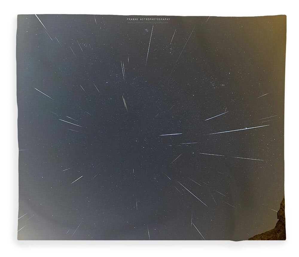 Fleece Blanket featuring the photograph Geminids Meteor Shower 2020 by Prabhu Astrophotography