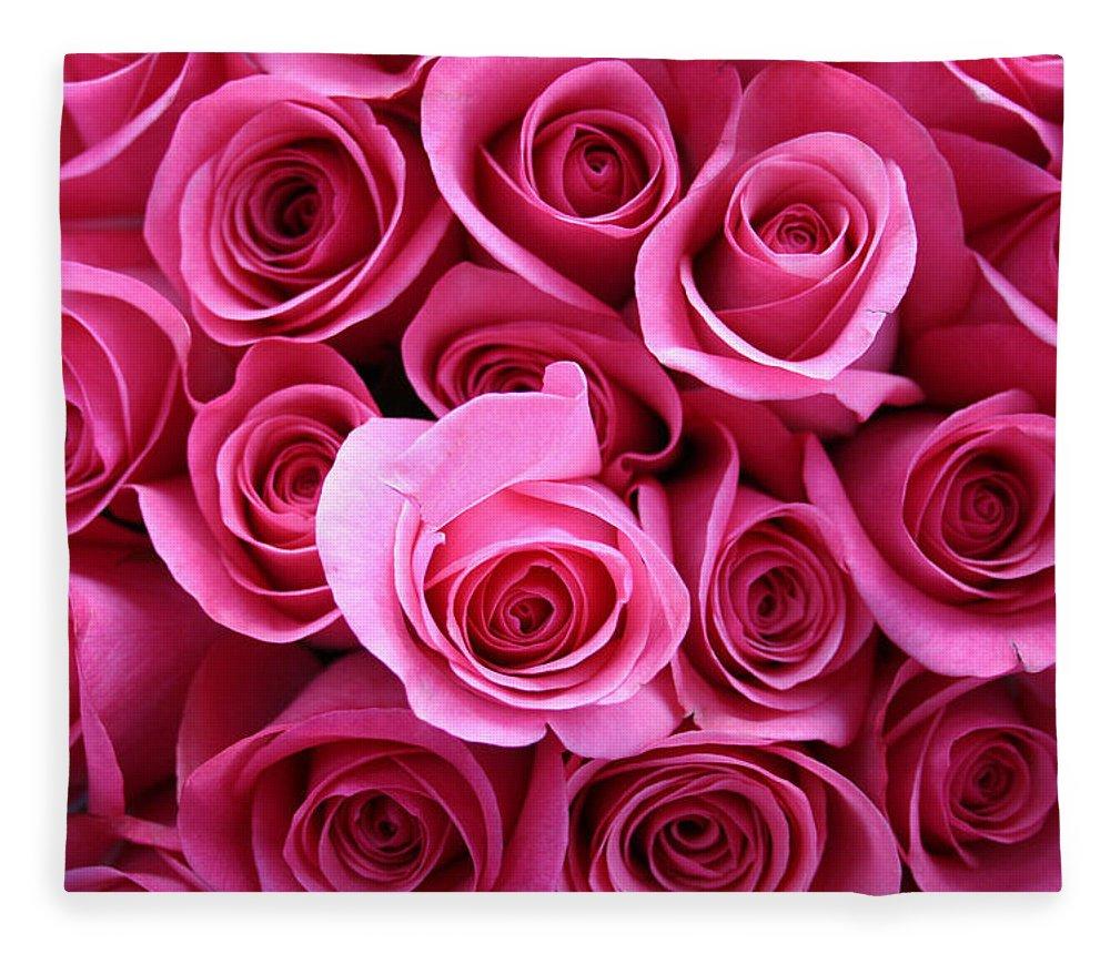 Pink Roses Fleece Blanket featuring the photograph Grandma Roses by Linda Sannuti