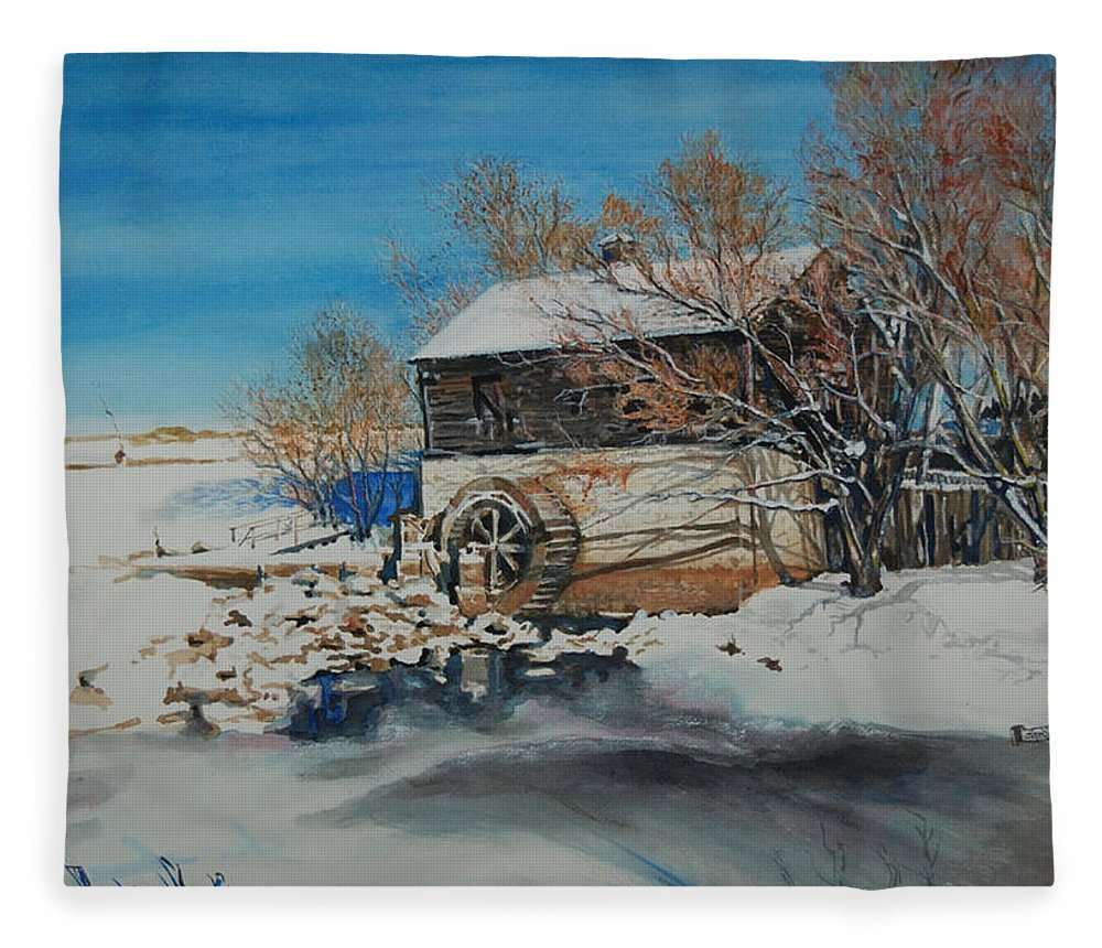 Mill Fleece Blanket featuring the painting Grants Old Mill by Susan Moore