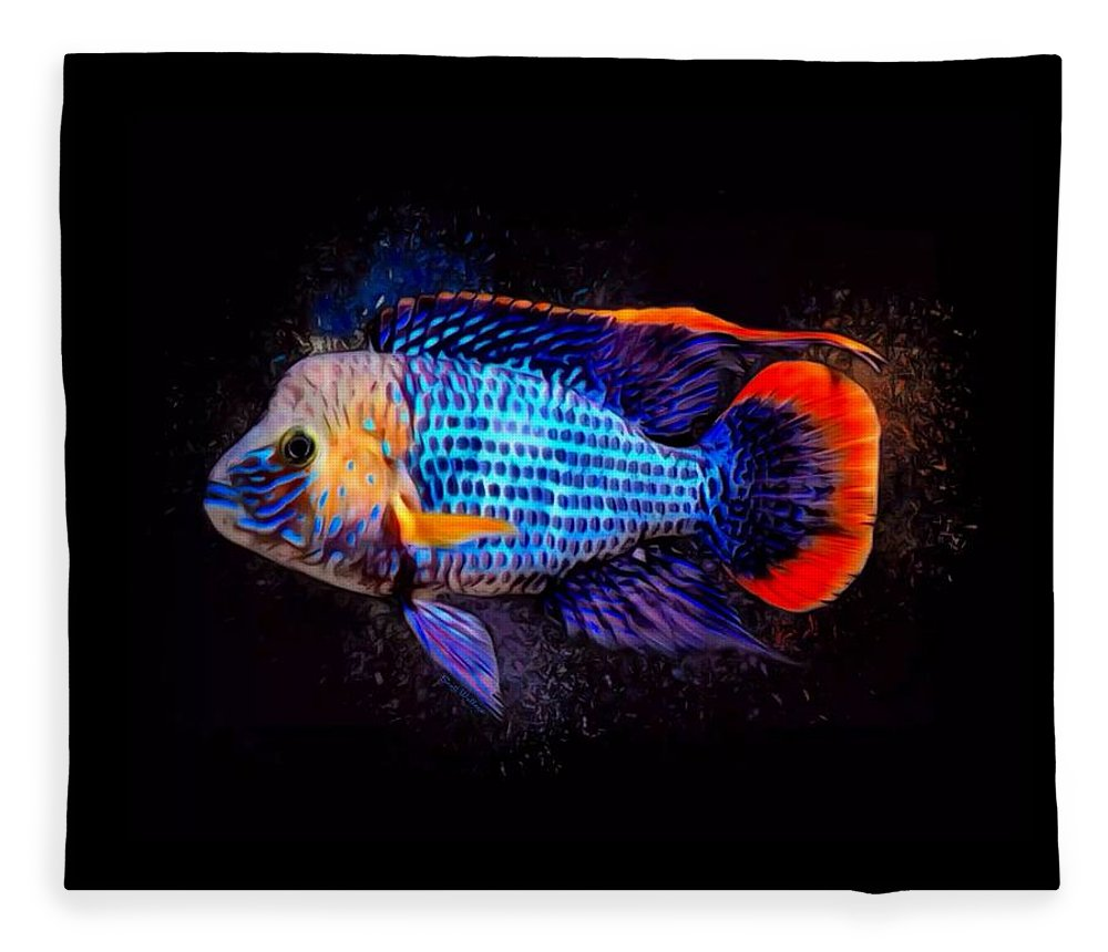 Green Terror Fleece Blanket featuring the digital art Green Terror Cichlid Fish by Scott Wallace Digital Designs