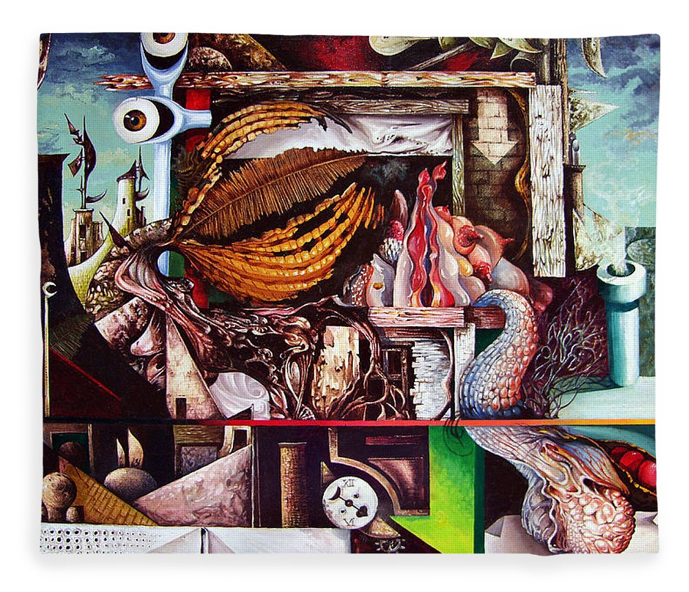 Surrealism Fleece Blanket featuring the painting Grey Day At The Factory by Otto Rapp