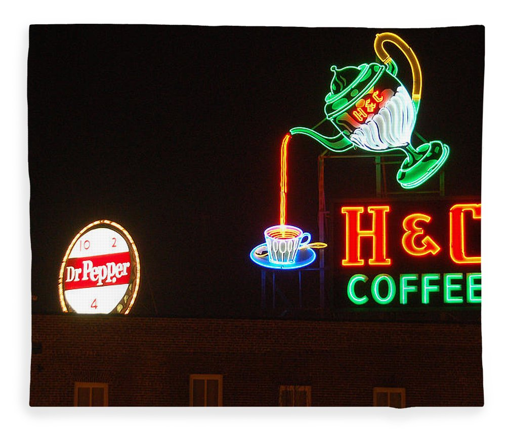 H C Coffee Fleece Blanket featuring the photograph H and C Coffee Sign Roanoke Virginia by Suzanne Gaff