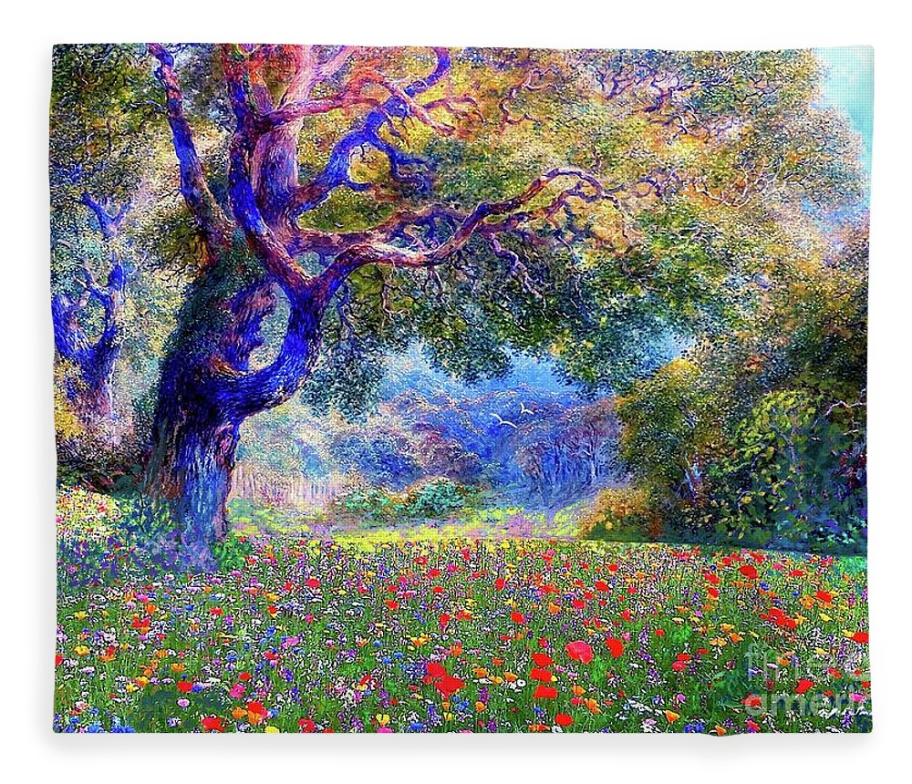 Landscape Fleece Blanket featuring the painting Happiness Blooming by Jane Small