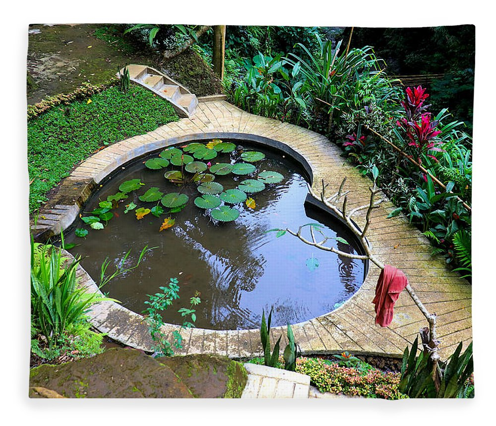Heart Fleece Blanket featuring the digital art Heart-shaped pond with water lilies by Worldvibes1
