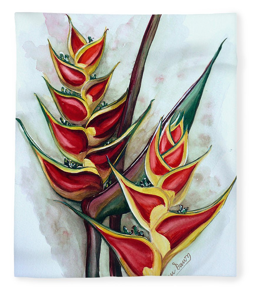 Caribbean Painting Flower Painting Floral Painting Heliconia Painting Original Watercolor Painting Of Heliconia Bloom  Trinidad And Tobago Painting Botanical Painting Fleece Blanket featuring the painting Heliconia Tropicana Trinidad by Karin Dawn Kelshall- Best