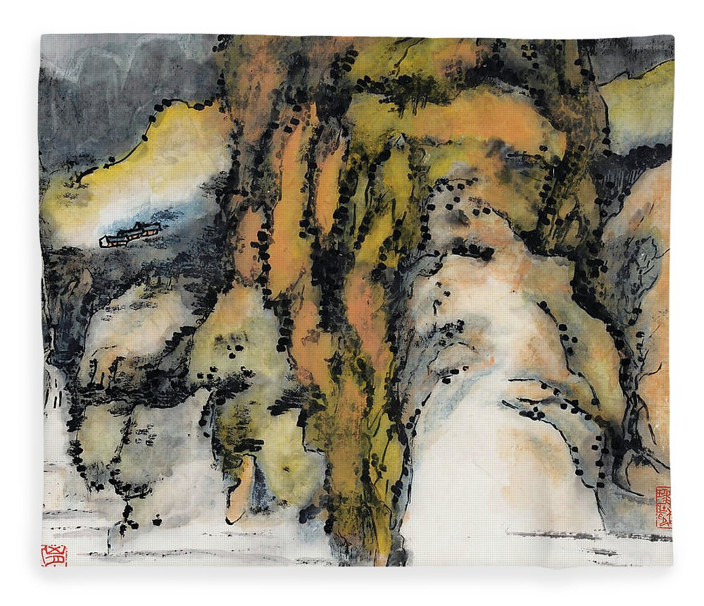 Lai Shaoji Fleece Blanket featuring the painting High Mountains And Flowing Water In    by Lai Shaoji