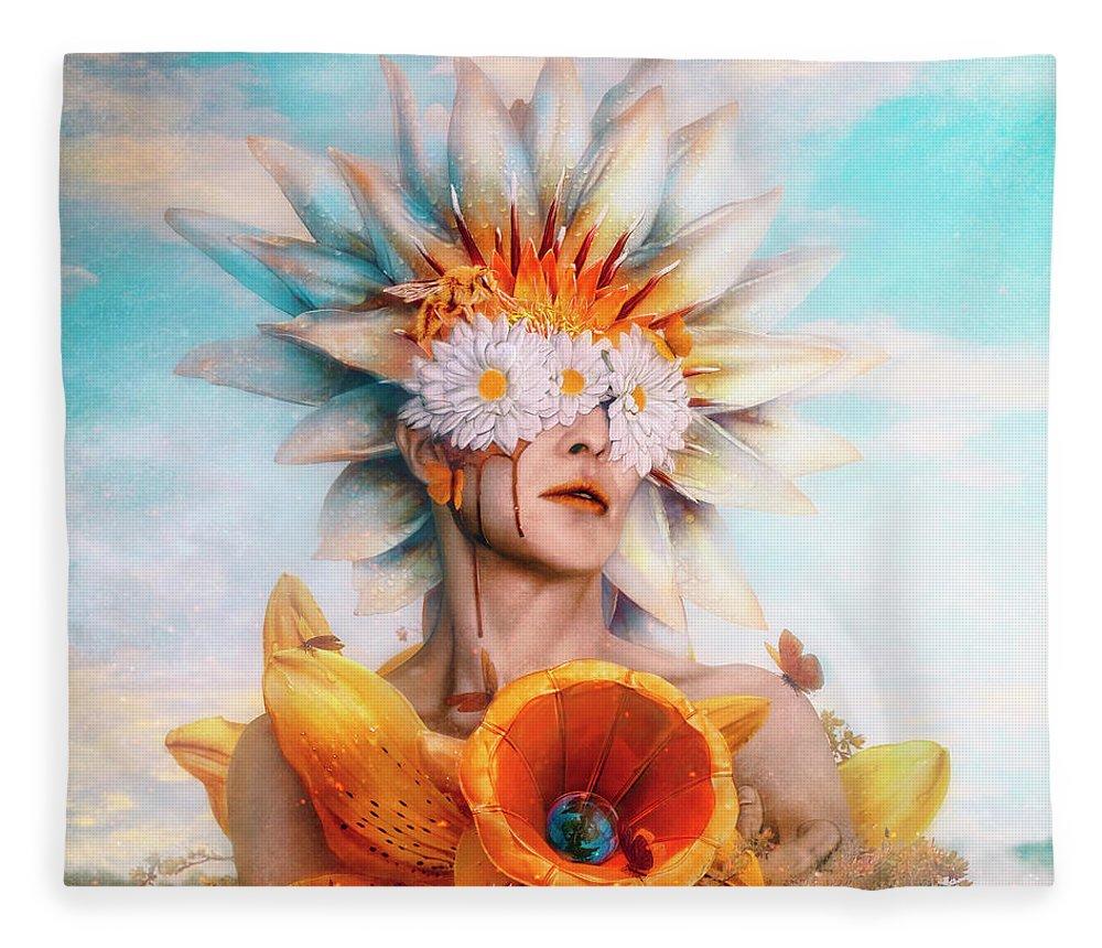 Surreal Fleece Blanket featuring the digital art Honey by Mario Sanchez Nevado