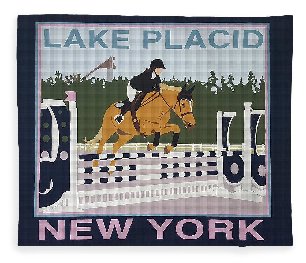 Horse Jumping Horse Jump Lake Placid New York Ny Horses Show Showgrounds Ski Jumps Fleece Blanket featuring the painting Lake Placid Horse Show by Joanne Orce