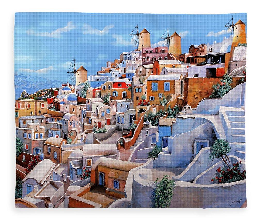 Greece Fleece Blanket featuring the painting I colori di santorini  by Guido Borelli