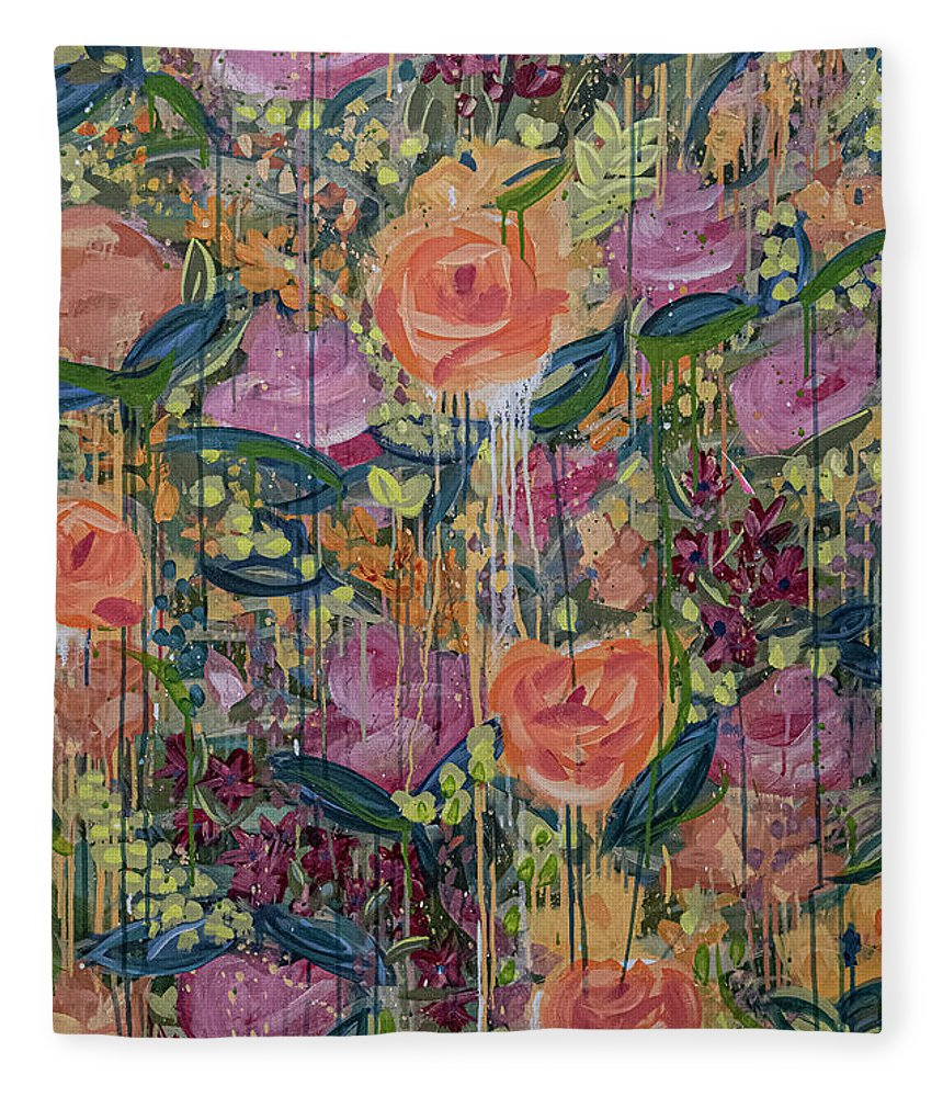 English Garden Fleece Blanket featuring the painting In The Garden by Amanda Armstrong