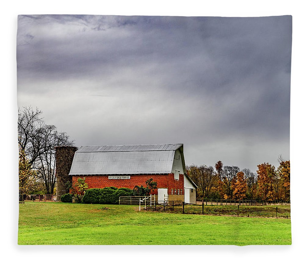 Landscape Fleece Blanket featuring the photograph Indiana Barn #112 by Scott Smith