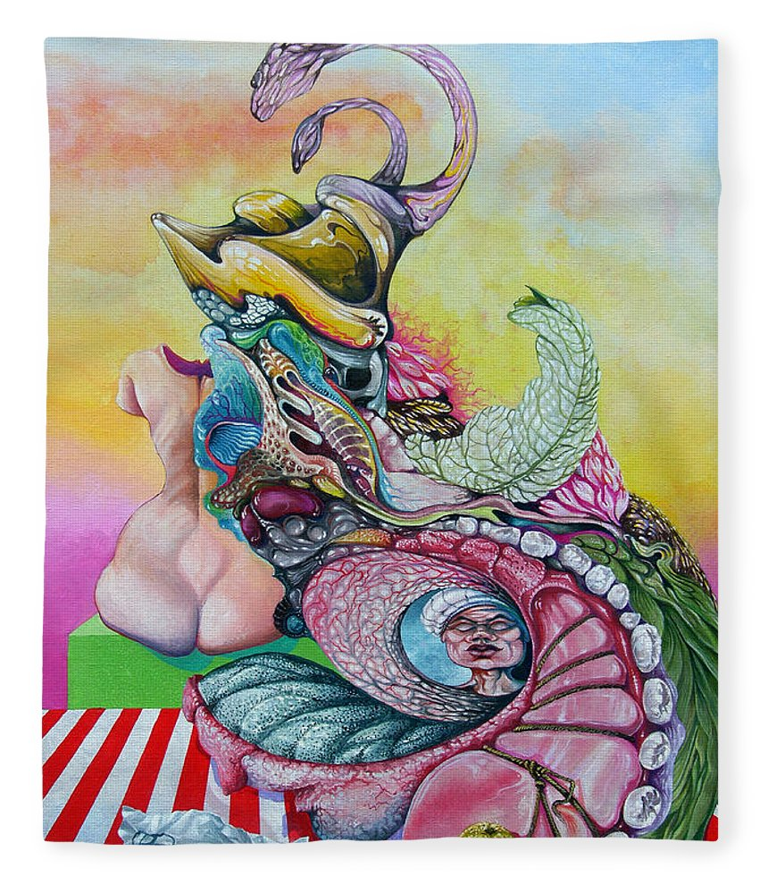 Fleece Blanket featuring the painting Inside Out by Otto Rapp