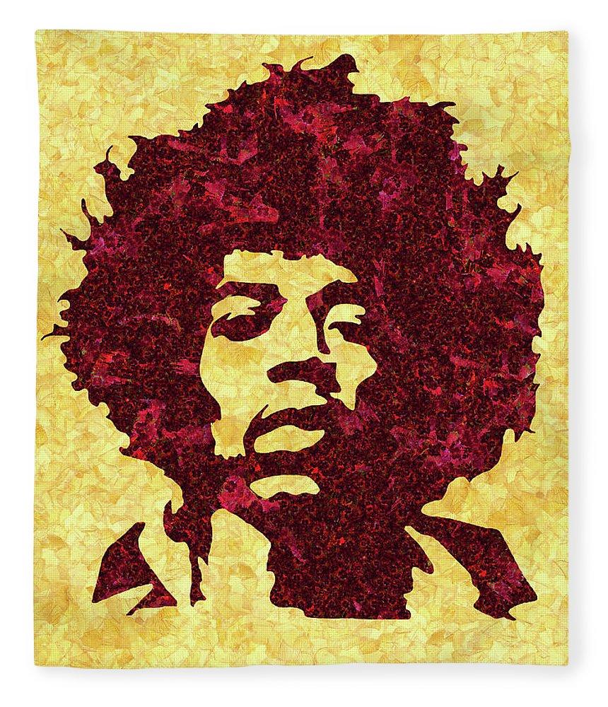 Jimi Hendrix Print Fleece Blanket featuring the mixed media Jimi Hendrix Print, Jimi Hendrix Poster, Rock Music Lovers Gift by Irina Pospelova