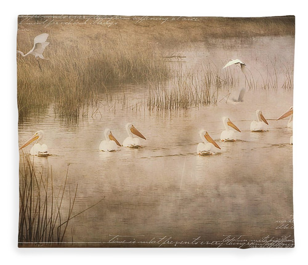 White Pelicans Fleece Blanket featuring the digital art Just Another Day at the Lake by Linda Lee Hall