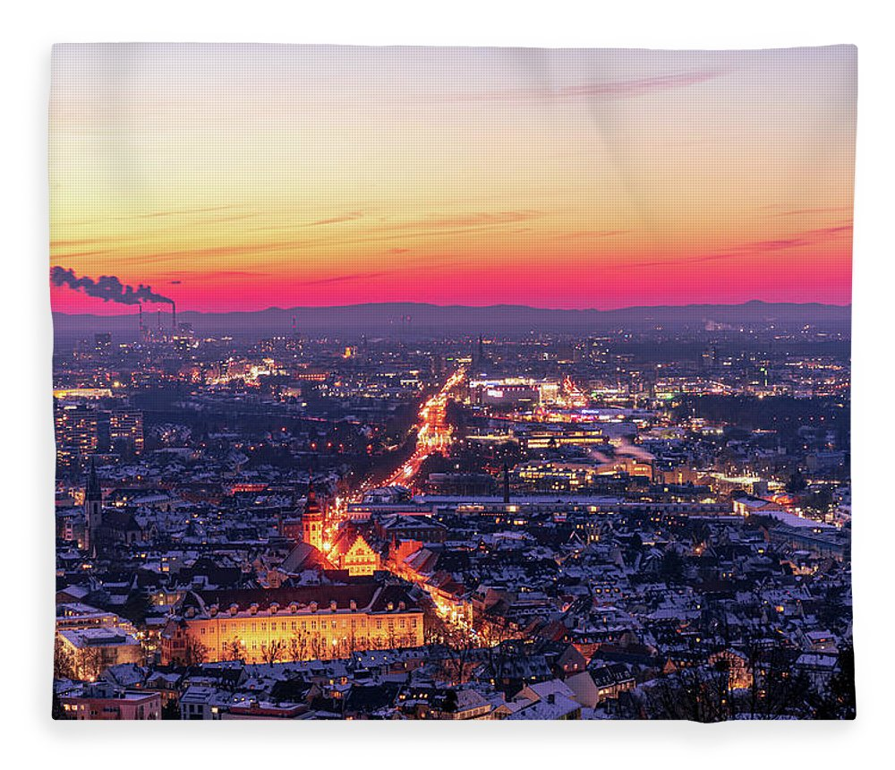 Karlsruhe Fleece Blanket featuring the photograph Karlsruhe in winter at sunset by Hannes Roeckel