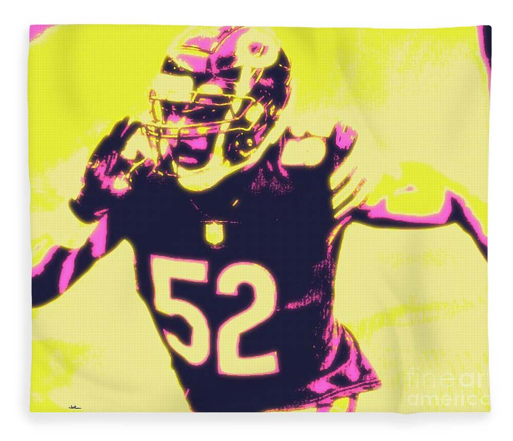 Khalil Fleece Blanket featuring the painting Khalil Mack by Jack Bunds