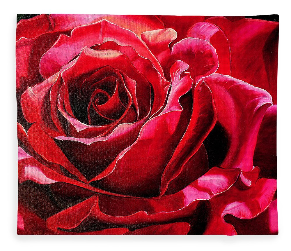 Rose Painting Fleece Blanket featuring the painting Labelle Rose    by Karin Dawn Kelshall- Best