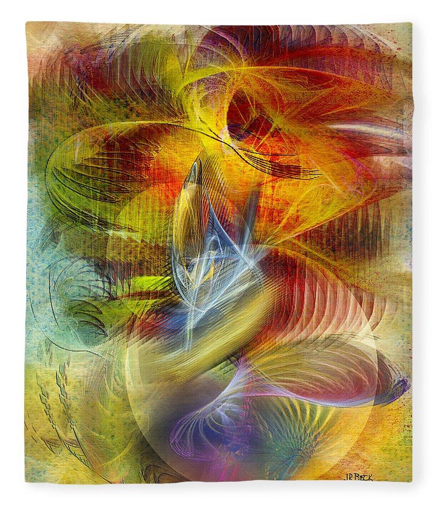 Affordable Art Fleece Blanket featuring the digital art Lady And Her Shells by John Robert Beck