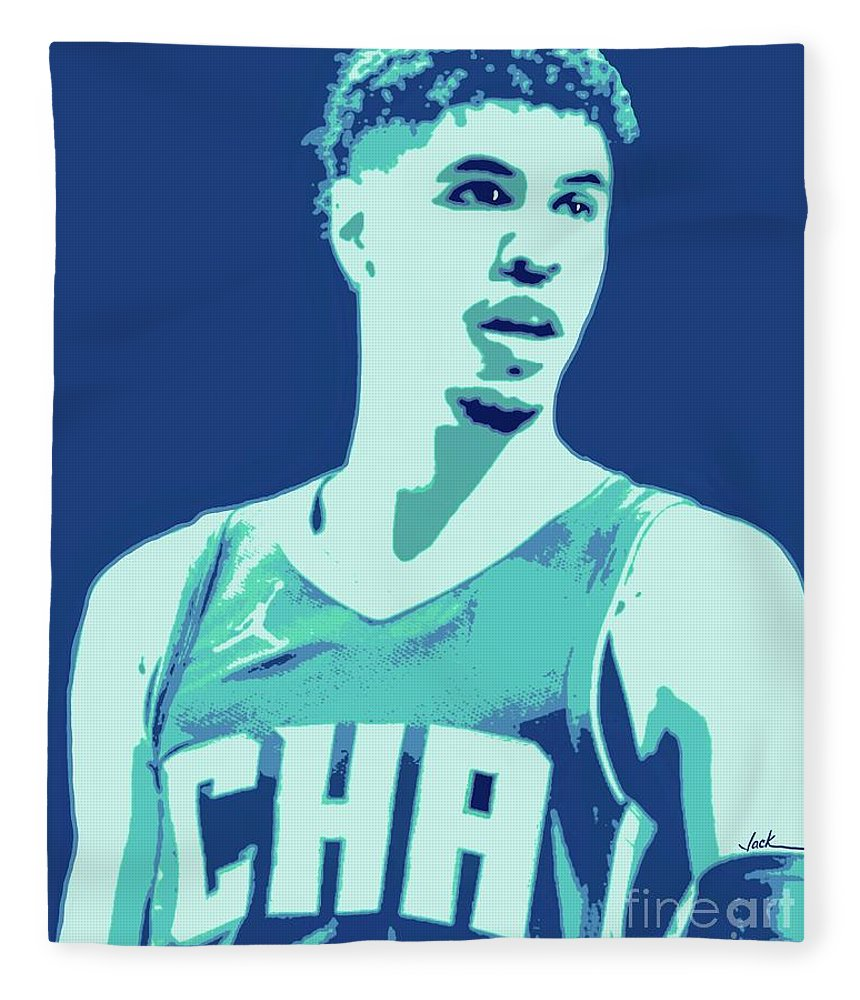 Lamelo Fleece Blanket featuring the painting LaMelo Ball by Jack Bunds