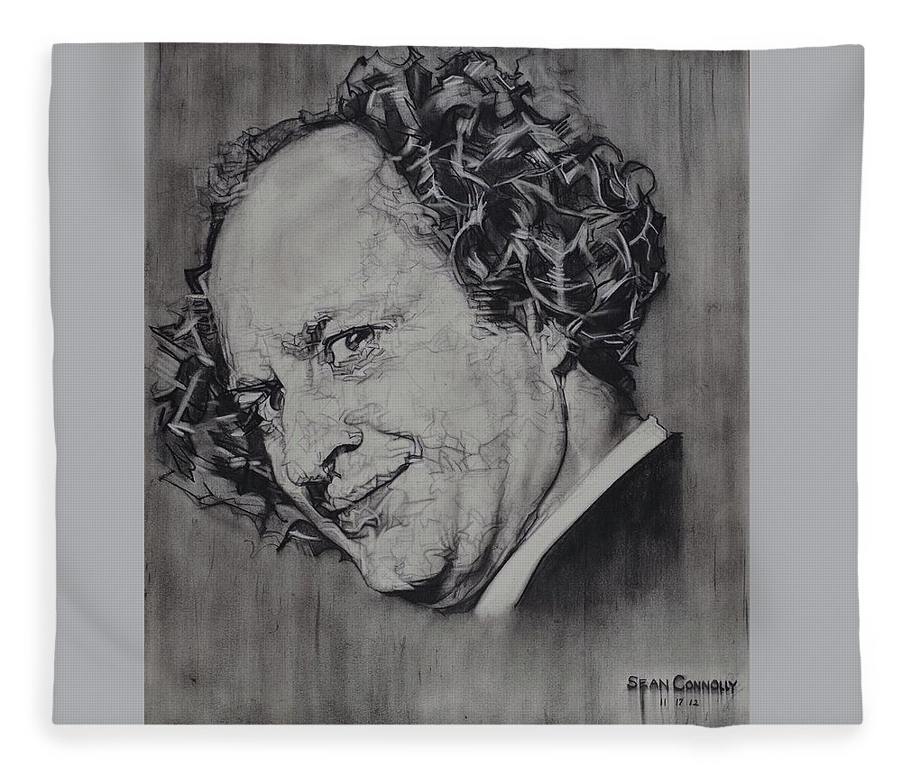 Charcoal Pencil Fleece Blanket featuring the drawing Larry Fine Of The Three Stooges - Where's Your Dignity? by Sean Connolly