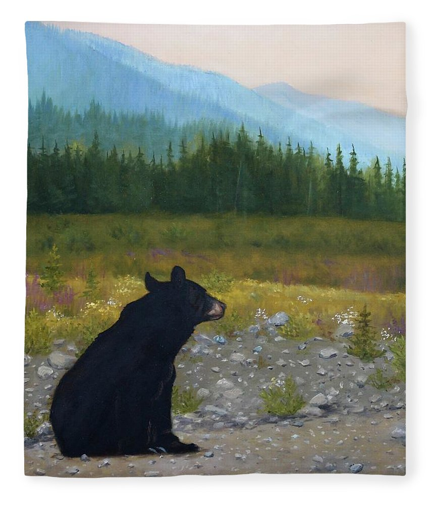 Bear Fleece Blanket featuring the painting Late Day Musings by Tammy Taylor