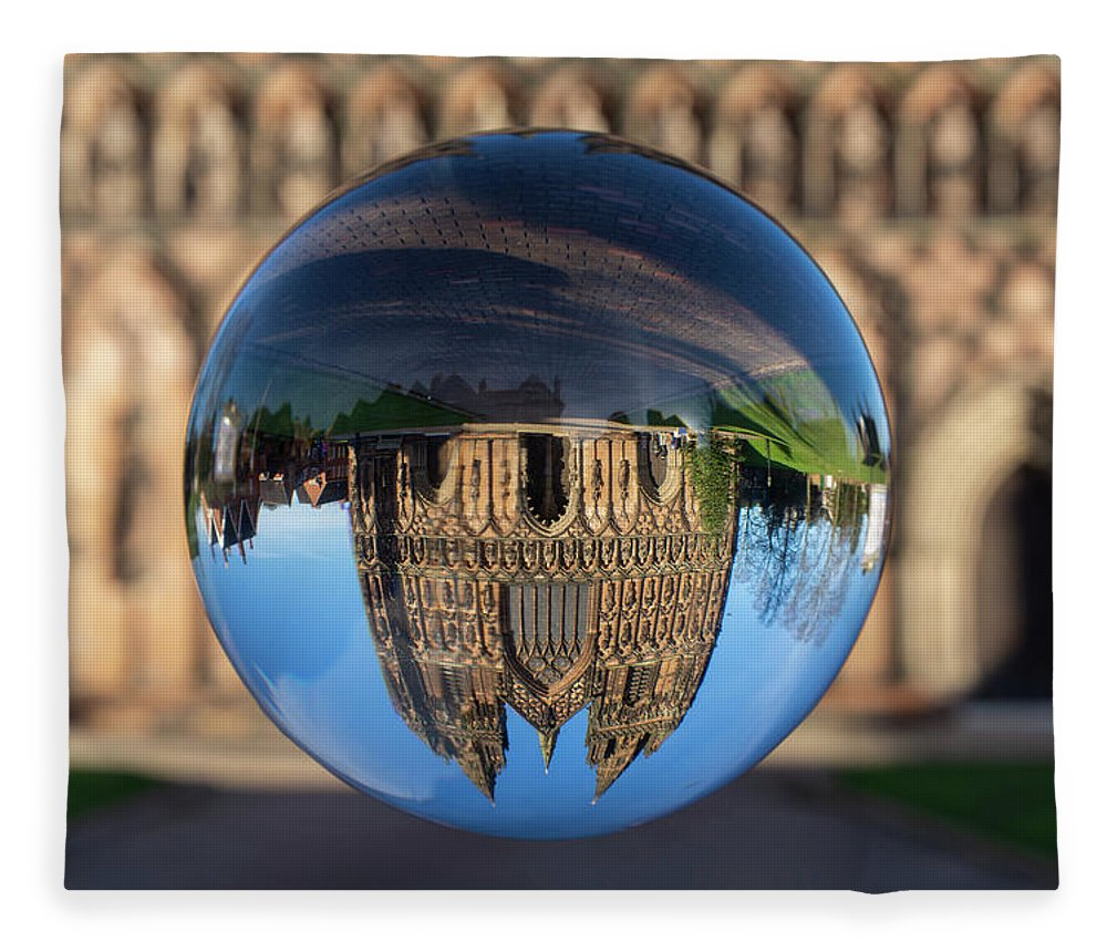 Lichfield Fleece Blanket featuring the photograph Lichfield lens ball by Steev Stamford