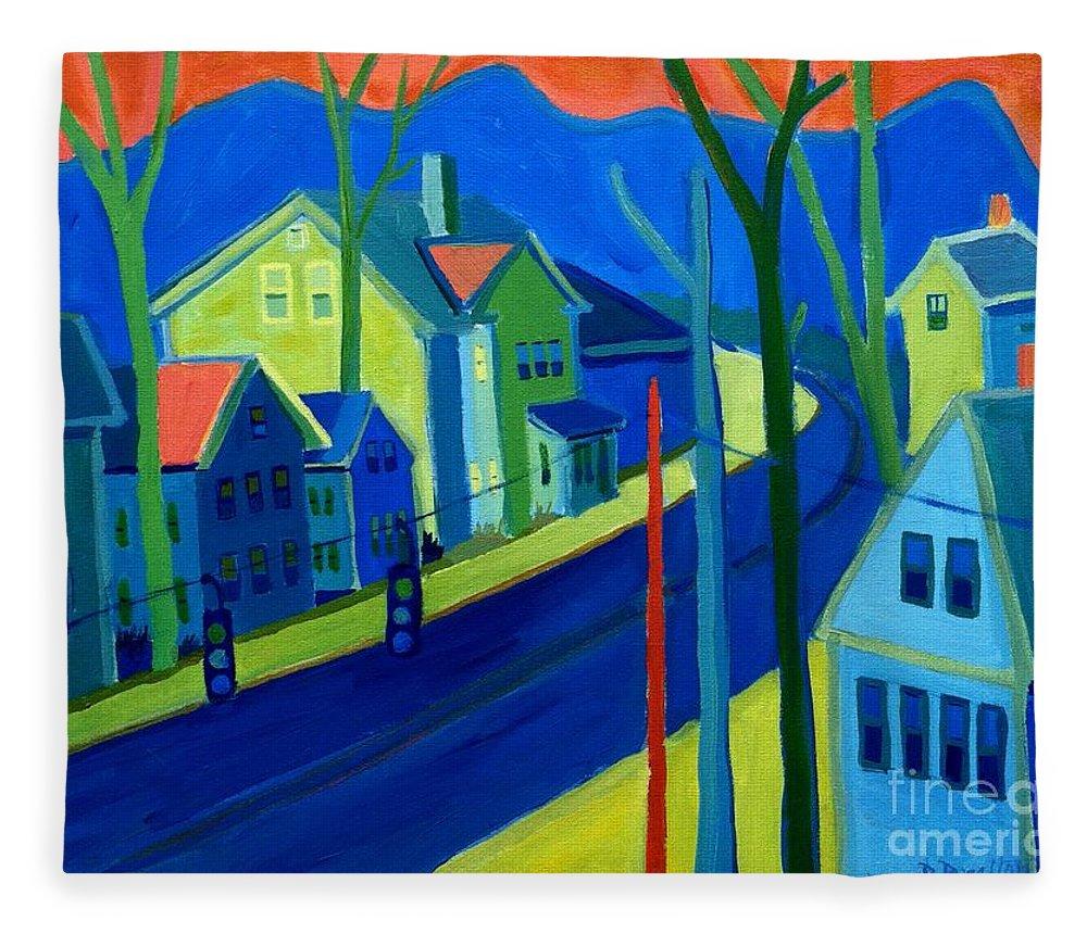 Cityscape Fleece Blanket featuring the painting Lowell Deluge by Debra Bretton Robinson