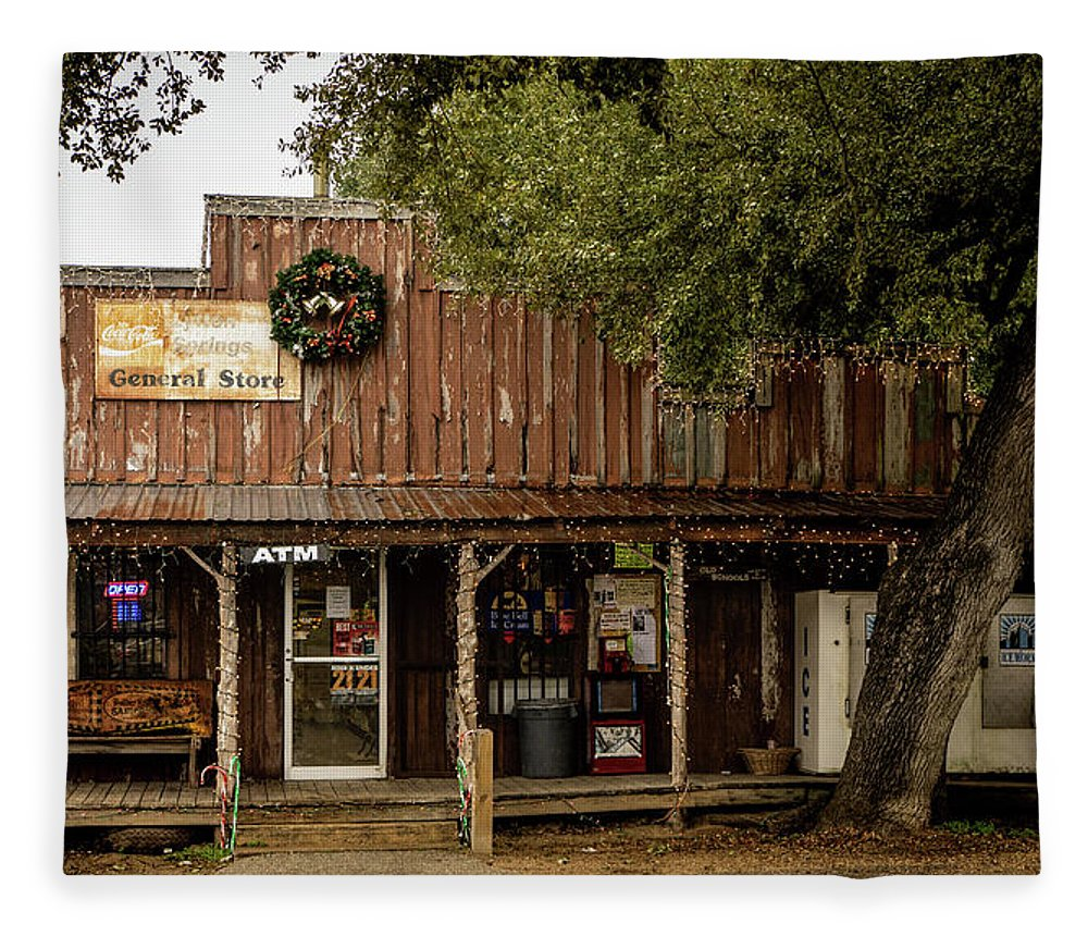 Store Fleece Blanket featuring the photograph Lytton Springs General Store by Linda Lee Hall