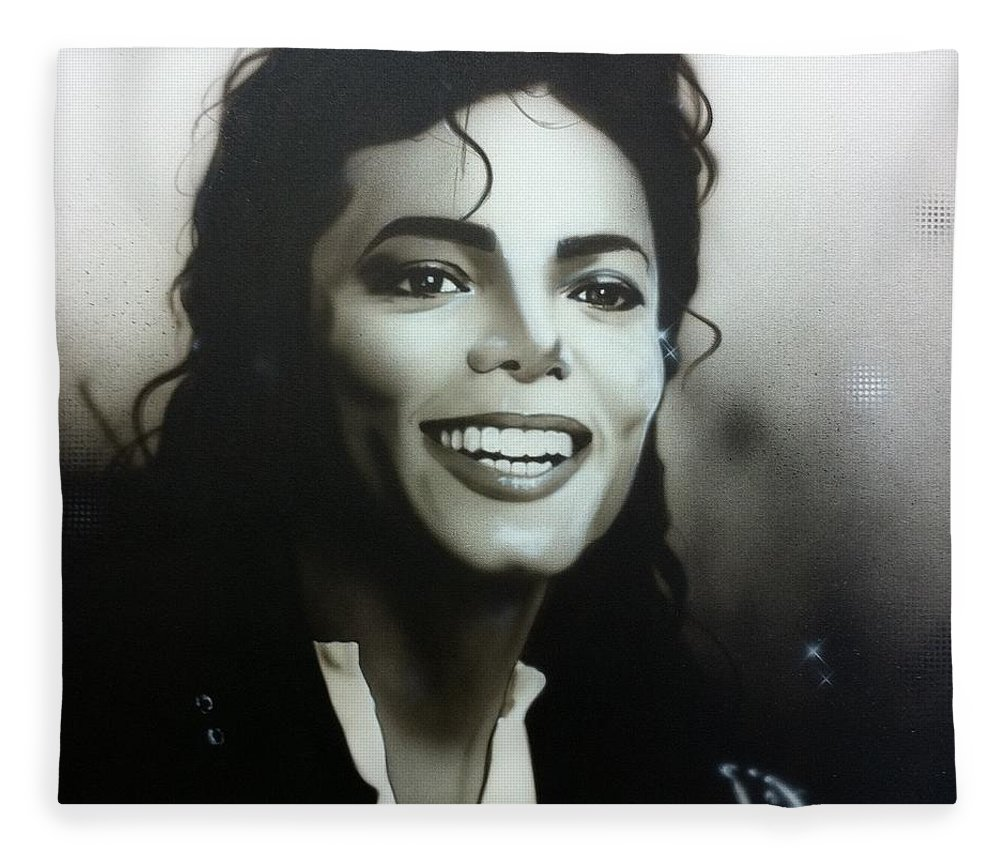 Michael Jackson Fleece Blanket featuring the painting M. J. by Christian Chapman Art