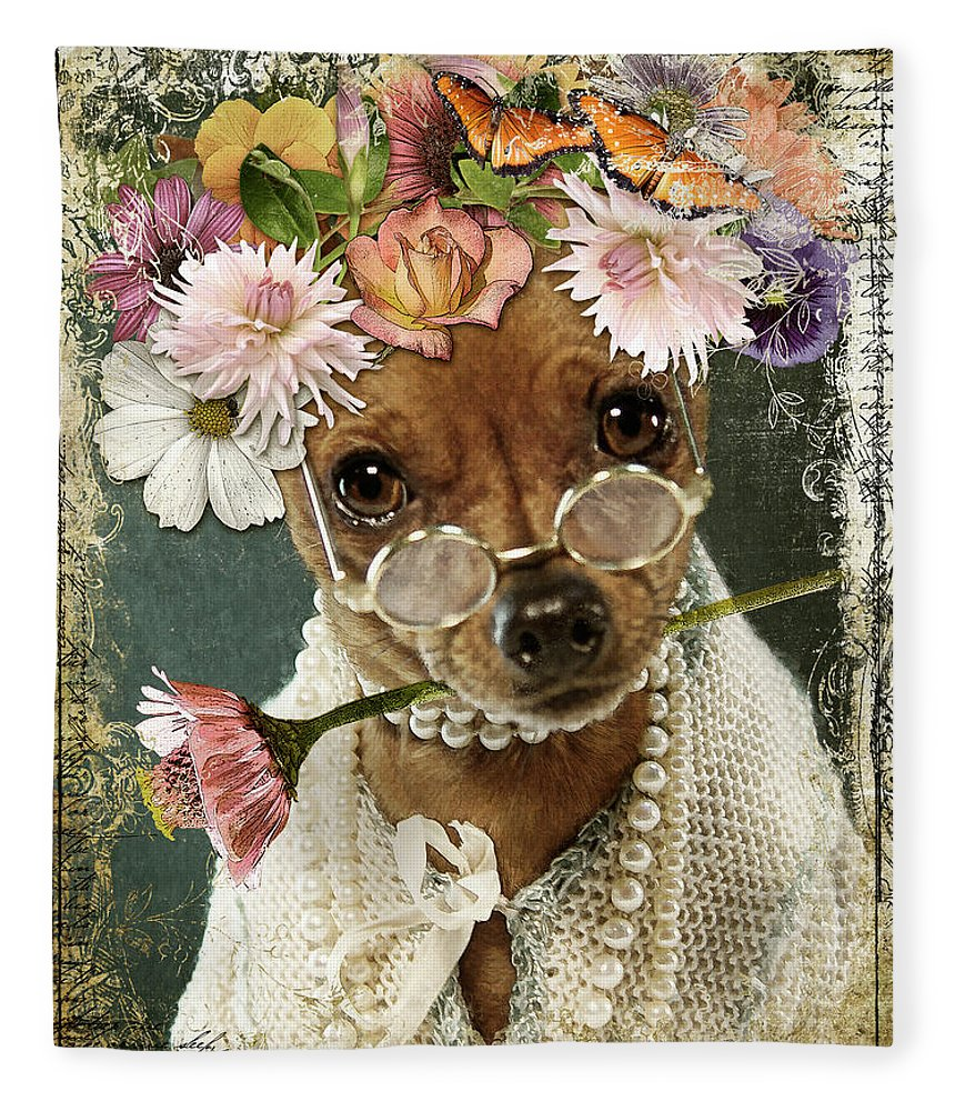 Minpin Fleece Blanket featuring the digital art Maddy in Her Good Pearls by Linda Lee Hall