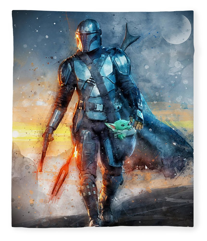 The Mandalorian Fleece Blanket featuring the painting Mandalorian and Baby Yoda / The Child / Grogu season 2 by Waldek Dabrowski