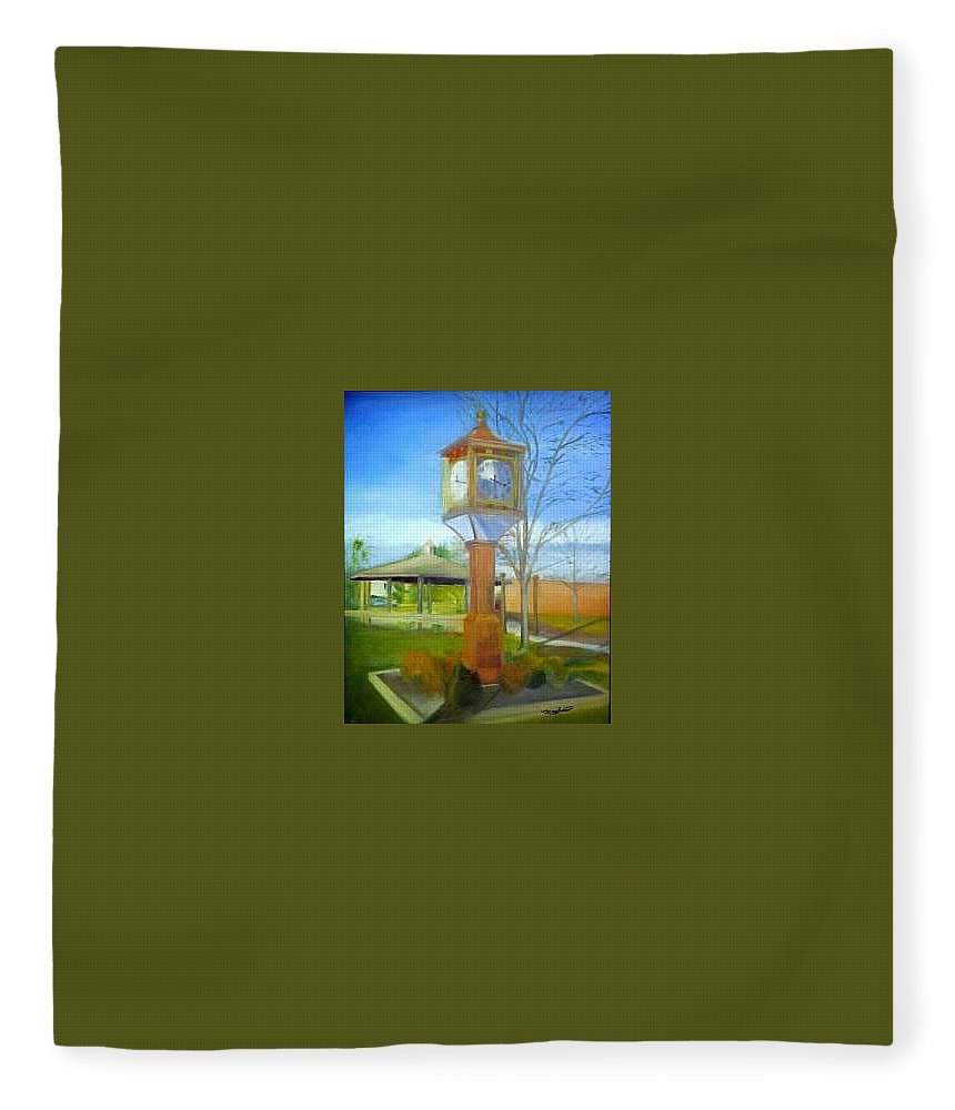 Maple Shade Fleece Blanket featuring the painting Maple Shade Clock by Sheila Mashaw