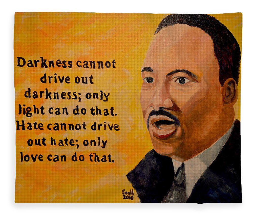 Oil Fleece Blanket featuring the painting Martin Luther King Jr. by Roger Snell