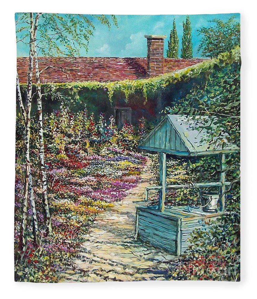 Garden Fleece Blanket featuring the painting Mary's Garden by Sinisa Saratlic