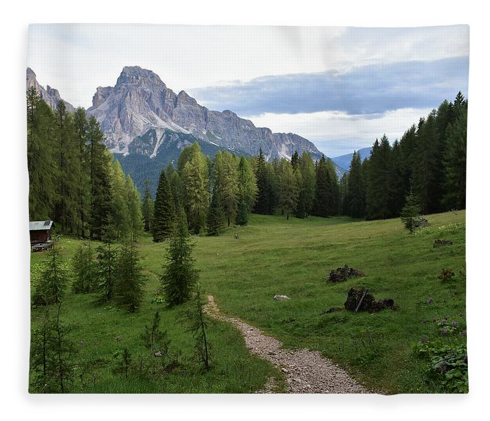 Dolomites Fleece Blanket featuring the photograph Meadow in the dolomites by Luca Lautenschlaeger