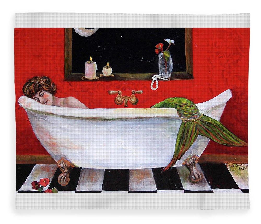 Mermaid Fleece Blanket featuring the painting Mermaid in Bathtub Taking a Moonlight Soak by Linda Queally by Linda Queally