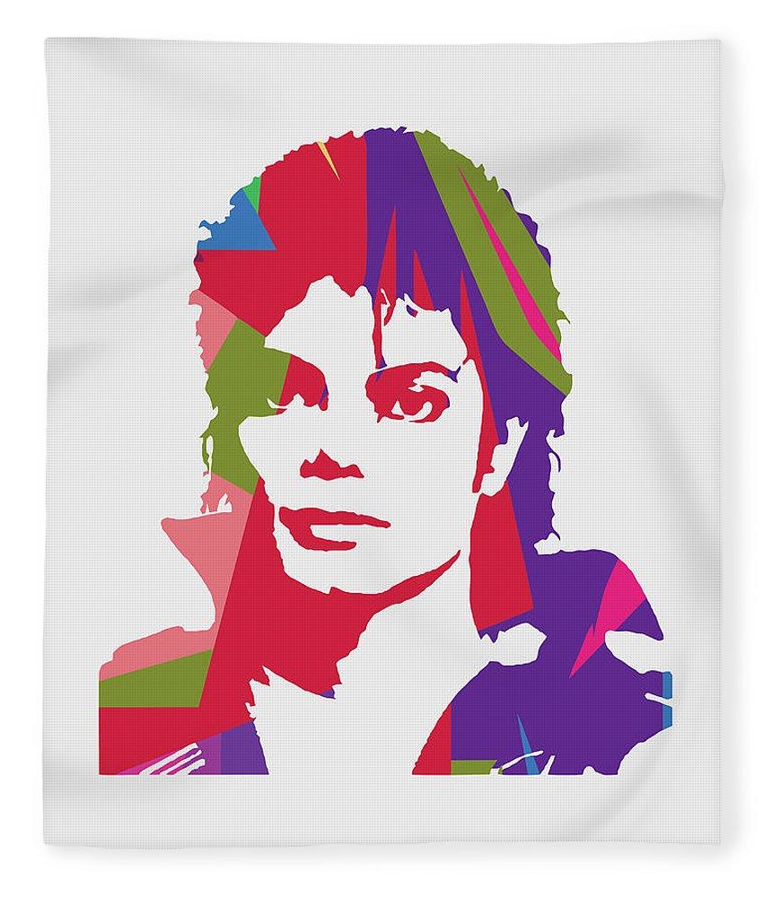 Michael Jackson Fleece Blanket featuring the digital art Michael Jackson 2 POP ART by Ahmad Nusyirwan