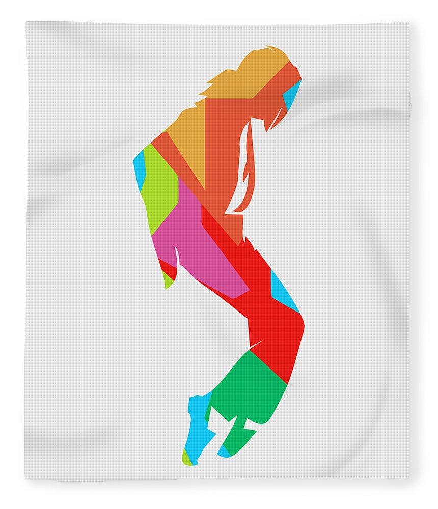 Michael Jackson Fleece Blanket featuring the digital art Michael Jackson Dance 2 POP ART by Ahmad Nusyirwan