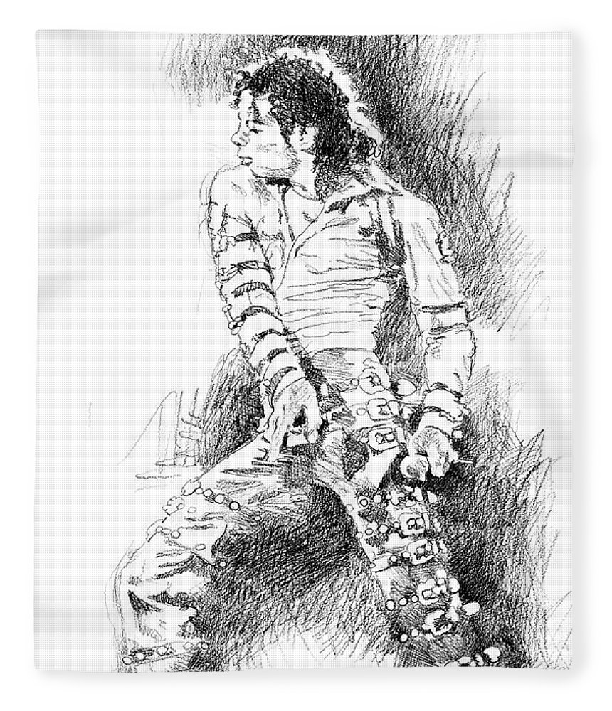 Michael Jackson Fleece Blanket featuring the drawing Michael Jackson - Onstage by David Lloyd Glover