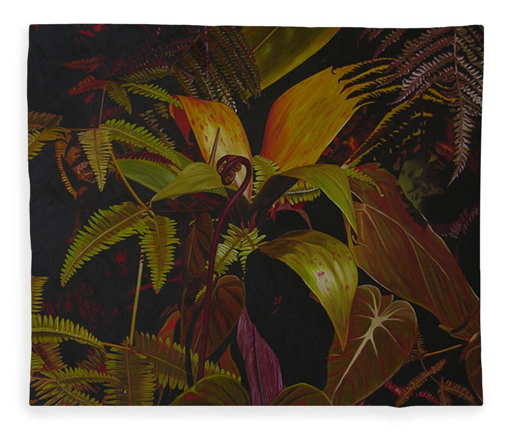 Plant Fleece Blanket featuring the painting Midnight in the garden by Thu Nguyen